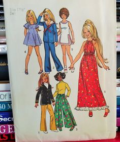1972 Simplicity Sewing Pattern  5276-Doll by PaperWardrobesEtc