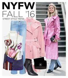 """""""CT4: Day Two - The Best NYFW Street Style"""" by bugatti-veyron ❤ liked on Polyvore featuring J.W. Anderson, Frame Denim, Mary Katrantzou, Moschino, Sergio Rossi, Chanel, BCBGeneration, women's clothing, women and female"""