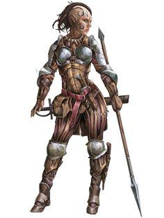 f Half Elf Fighter plate armor spear short sword