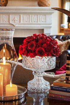 Gorgeous Flower Arrangement of Red Roses! Lovely Crystal footed bowl for flower arrangements! Deco Floral, Floral Design, Vibeke Design, Waterford Crystal, Crystal Vase, Deco Table, Decoration Table, Red Roses, Floral Arrangements