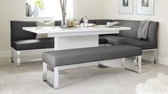Delightful 7 Seater Left Hand Corner Bench | Leather And Chrome | UK