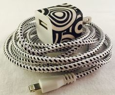 Braided nylon charger cord, Iphone 5 & 6, fabric phone chargers, long charger cord, black and white, braided nylon phone charger, the360shop - pinned by pin4etsy.com