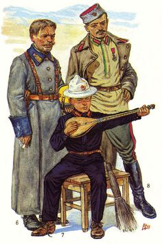 Bukhara Red Army. 1922-1924. 6. Walking militia. The Middle commanders (in coat). 7. The pupil of Bukhara military-labor school (uniform the set 05/05/1923) 8. Cadet (in summer shirt, ceremonial trousers and coats).