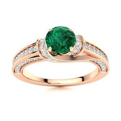 Four prongs accentuate the exquisite center stone in this gorgeous precious 14k Rose Gold Emerald ring. Diamonds studded on the lustrous shank add to the sparkle and brilliance of this piece. Rose Gold Emerald Ring, Natural Emerald Rings, Love Ring, Diamond Studs, Shades Of Green, Vintage Rings, Ring Designs, Heart Ring, White Gold