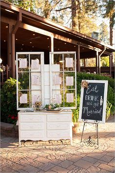 shabby chic reception entrance with window seating chart Shabby Chic, Rustic Chic, Wedding Decorations On A Budget, Wedding Centerpieces, Graduation Decorations, Reception Entrance, Reception Ideas, Wedding Receptions, Rustic Wedding Seating
