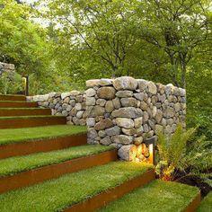 15 Modern Garden Stairs Ideas Bring Perfection Obviously - TheGardenGranny Landscape Steps, Landscape Architecture, Landscape Designs, Architecture Design, Landscape Bricks, Landscape Fountains, Garden Stairs, Design Jardin, Sloped Garden