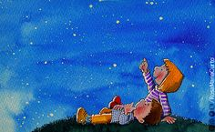 'Children below the stars', by @RosaMaria Curto (watercolor, pencil and pastel)