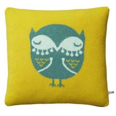 Donna Wilson Knitted Owl Cushion - Mustard/Jade - Donna Wilson from eggcup & blanket UK