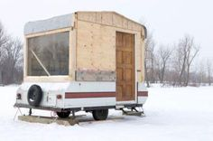 People may choose to build a homemade camper for many different reasons. For some people, a homemade camper is a more affordable option than buying new. Build A Camper, Diy Camper Trailer, Pop Up Trailer, Tiny Camper, Popup Camper, Truck Camper, Travel Camper, Truck Bed, Ice Fishing House