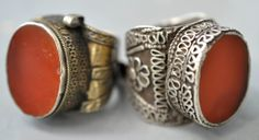 Two large carnelian rings. One gilt silver and the other silver , Yomud. (private collection Linda Pastorino)