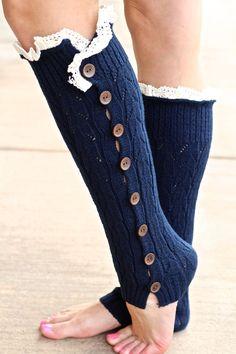 Navy Knitted Button Down Leg Warmer