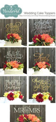Gorgeous hand made wedding cake toppers you won't find anywhere else! https://www.etsy.com/shop/WoodwordDesignStudio #wedding #weddingcaketopper #caketopper #goldwedding #silverwedding