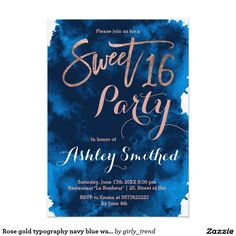 Rose gold typography navy blue watercolor Sweet 16 birthday Invitation Card.Order yours at Boardman Printing