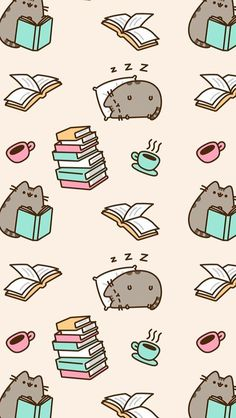 Wallpaper gatos para celular Pusheen Book, Cute Animal Drawings, Cute Drawings, Cute Wallpaper Backgrounds, Cute Wallpaper For Phone, Book Wallpaper, Iphone Wallpaper Japan, Kawaii Wallpaper, Cellphone Wallpaper