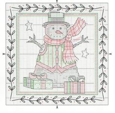 Cross-stitch Country Snowman... No color chart available, just use the pattern chart as your color guide.