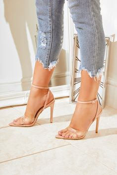 8f5662bbb4 Sofia Nude Clear Pointed Barely There Heels