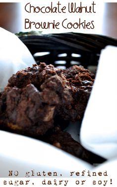 Gluten-free, Grain-free Chocolate Walnut Brownie Cookies, refined sugar-free, dairy-free, and soy free too!