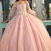 pink ball gown off-the-shoulder prom dress long sleeve party dress embroidery evening dress sold by shuiruyandresses. Shop more products from shuiruyandresses on Storenvy, the home of independent small businesses all over the world. Prom Dresses Long With Sleeves, Lace Evening Dresses, Ball Gown Dresses, Formal Dresses, Robes Quinceanera, Embroidery Dress, The Dress, Off The Shoulder, Party Dress
