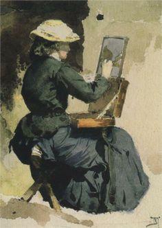Vasily Polenov (Russian 1844–1927) [Realism, Peredvizhniki] Portrait of N. Yakunchikova, 1882.