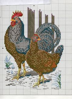 The brown rooster and hen share the color chart with the White Dorkings. 2 of 4 Rooster Cross Stitch, Chicken Cross Stitch, Cross Stitch Kitchen, Just Cross Stitch, Cross Stitch Animals, Cross Stitch Charts, Counted Cross Stitch Patterns, Cross Stitch Designs, Cross Stitch Embroidery