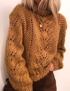 Elisabeth sweater pattern by Siv Kristin Olsen Ravelry: Elisabeth genser pattern by Siv Kristin Olsen Sweater Knitting Patterns, Lace Knitting, Knit Patterns, Knitting Sweaters, Pull Crochet, Knit Crochet, Ravelry, Chunky Oversized Sweater, Chunky Knitwear
