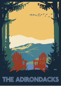 Adirondack Red Chair poster by Linnea Designs (Riley/Kriesel)