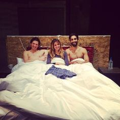 The cast of THREESOME get cozy. L-R: Quinn Franzen, Alia Attallah & Dominic Rains. #pcsproud #hellsyes