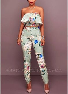 african print dresses Light Blue Floral Print Strapless Ruffle Crop Top Pants Suit @ Sexy Rompers And Jumpsuits For Women-Strapless Jumpsuit,Long Sleeve Jumpsuit,Long Slee Latest African Fashion Dresses, African Print Dresses, African Print Fashion, African Dress, Fashion Prints, Nigerian Fashion, Ghanaian Fashion, Africa Fashion, African Prints
