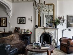 Roman and Williams transformed a contemporary Park Slope brownstone into a historic home full of curiosities for Vince Clarke, founder of Depeche Mode, and his Living Room Designs, Living Room Decor, Living Spaces, Living Rooms, Apartment Living, Roman And Williams, Townhouse Designs, Eclectic Style, Eclectic Modern