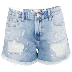 Boohoo Emma Pearl Embellished Distressed Denim Shorts | Boohoo ($21) ❤ liked on Polyvore featuring shorts, short shorts, party shorts, mid length shorts, hot short shorts and sequin hot shorts