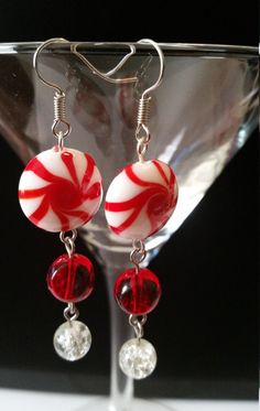 Peppermint Earrings, Red & White, Swirl Earrings , Candy Earrings by CinnamonCreations14 on Etsy