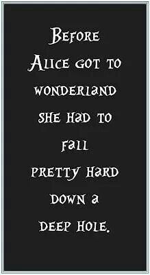 Before Alice got to Wonderland she had to fall pretty hard down a deep hole.