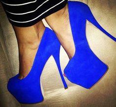 Blue shoes-pop of color:) Cobalt Blue Heels, Blue Pumps, Blue Shoes, Neon Shoes, Crazy Shoes, Me Too Shoes, Kim Kardashian Latest Pics, Shoe Boots, Shoes Heels