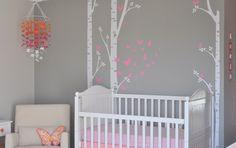 Birch Tree Decal with butterflies, Set of 3 Birch Nursery Wall Vinyl. $55.00, via Etsy.