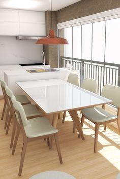 Varanda gourmet integrada com sala de jantar. Decoração com madeira e branco. Descubra seu estilo em nosso site! Living Room Decor Modern, Terrace Decor, Home Kitchens, Dining Room Design, Balcony Decor, Latest Dining Table, Dining Room Small, Latest Dining Table Designs, Home Decor Furniture