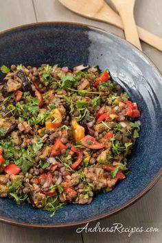 Grilled Eggplant Salad with Lentils and Tomatoes (The Kids Cook Monday) - Andrea Meyers
