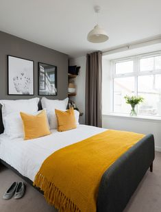 A master bedroom in a grey colour scheme with double bed, mustard yellow throw, and shelving in the corner of the room bedroom colour schemes Real home: a renovated and extended Scottish cottage Bedroom Color Schemes, Bedroom Colors, Home Decor Bedroom, Modern Bedroom, Bedroom Ideas, Contemporary Bedroom, Bedroom Bed, Budget Bedroom, Grey Living Room Ideas Colour Palettes