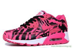 Tiger Stripes Rosa Negro Nike Air Max 90 Mujeres oferta zapatillas running