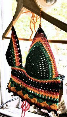 Crochet topcrochet bikini summer top rasta por PoppyBlueCrochet