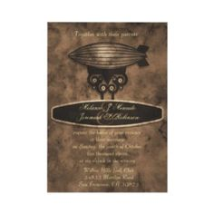 Steampunk Wedding Invitations - Zeppelin.  Awesome.