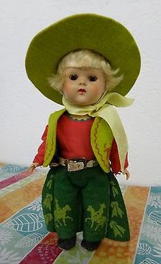 Vintage Vogue Ginny Cowboy PL Painted Lash Strung Blonde Doll