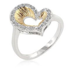 Genuine Rhodium Plated and 18k Gold Plated Heart Ring with Accents in Two-Tone