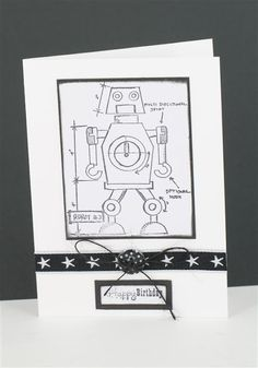 Robot card using Tim Holtz blueprint stamp and Craft Queen ribbon.  www.craftqueen.com.au