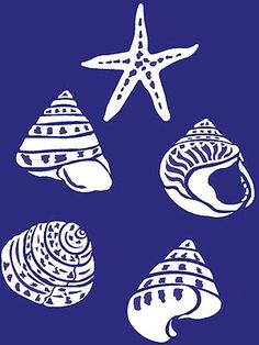 5 different seashell stencil motifs 5 sheet stencil, 2 layer stencil The Coastal Shell Stencil Theme Pack contains five simple, bold and beautiful two-layer shell motifs - ideal for all sea-themed decorating projects - giving modern style to a classic theme. Stencil in monotone or natural colours for the most impact. See size and layout specifications below.