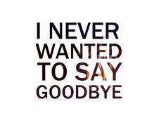 I never wanted to say goodbye ... But I think you did the whole time.
