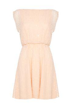 ALICE + OLIVIA Lisette Sequin Peach Silk Dress