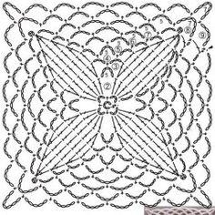 from Crochet lace flower applique Motifs Granny Square, Granny Square Crochet Pattern, Crochet Blocks, Crochet Diagram, Crochet Squares, Granny Squares, Crochet Tablecloth Pattern, Crochet Motif Patterns, Knitting Patterns