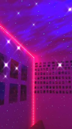 (led lights, ceiling star lights, and polariod/pics on the wall) Cute Room Ideas, Cute Room Decor, Teen Room Decor, Teenage Bedroom Decorations, Adult Bedroom Decor, Hippie Bedroom Decor, Neon Bedroom, Room Ideas Bedroom, Bedroom Inspo
