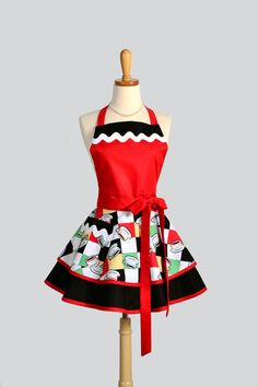 Ruffled Retro Apron , Handmade Flirty Full Womens Apron Retro Have a Cup A Joe