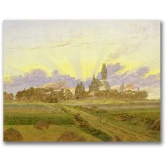 Trademark Fine Art Dawn At Neubrandenburg Canvas Wall Art by Caspar Friedrich, Size: 18 x 24, Multicolor